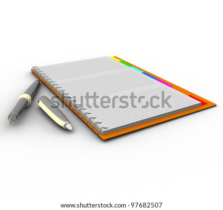 three-dimensional notebook with a pen on a white background