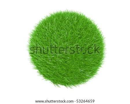 Three dimensional  of green grass ball, on a white background