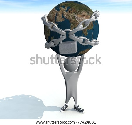three-dimensional person holding a land in chains