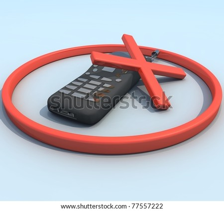 three-dimensional phone with a red cross in the red rim - stock photo