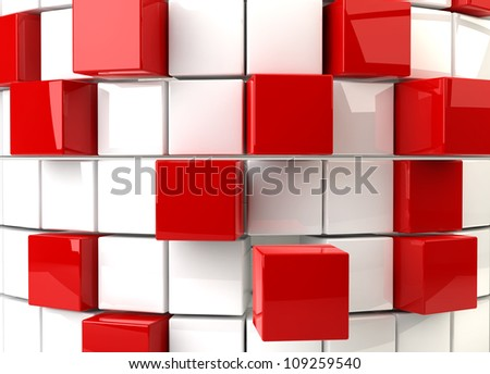 Three dimensional render of a abstract red and white cubes