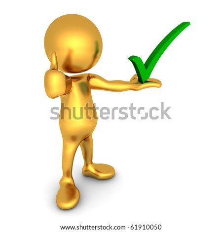 Three-dimensional render of a cute little golden human figure being positive