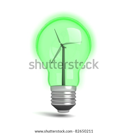 Three dimensional render of a green light bulb with a wind turbine in it. Concept for renewable energy.