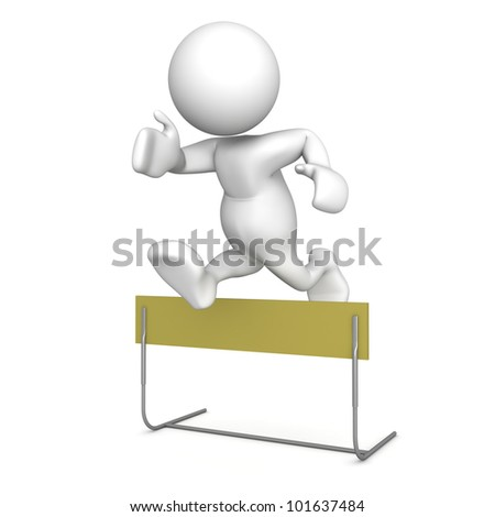Three dimensional render of a human figurine jumping over a hurdle