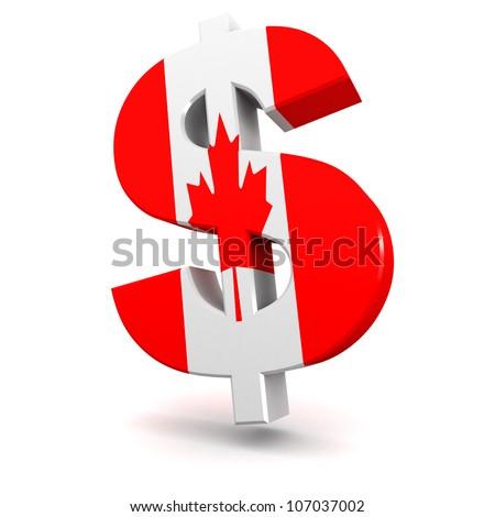 Three dimensional render of the Canadian Dollar symbol