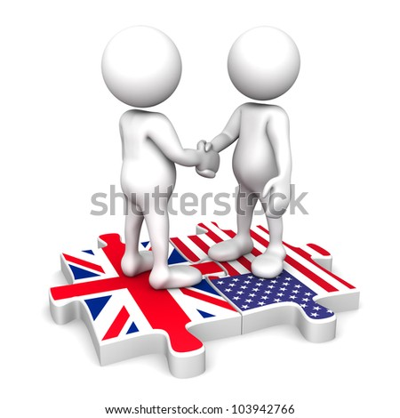 Three dimensional render of two human figurines shaking hands while standing on flag puzzle pieces