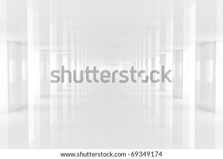 Three dimensional rendering white passage mirroring on floor
