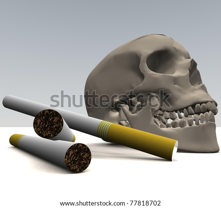 three-dimensional skull with cigarettes