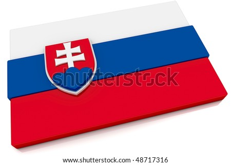 Three dimensional Slovakian flag button.  Part of set of country flags all in 2:3 proportion with accurate design and colors.