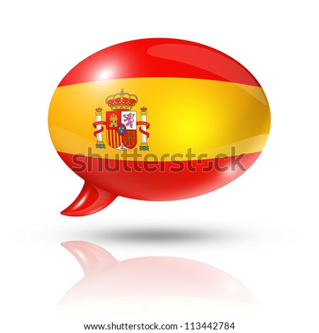 three dimensional Spain flag in a speech bubble isolated on white with clipping path