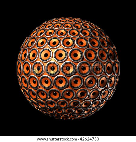 three dimensional sphere made of orange speakers - isolated on black