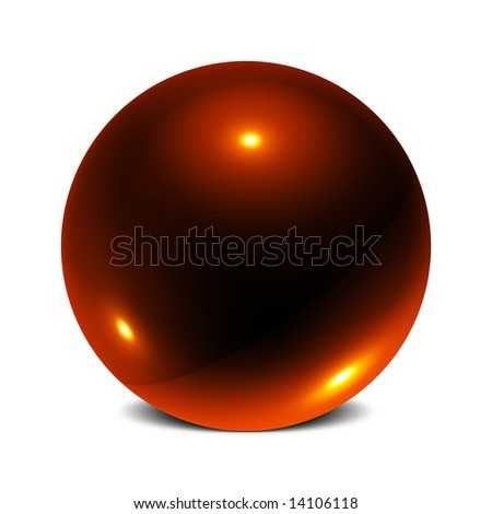 Three Dimensional Sphere of Reflective Surface With 3 Points of Light