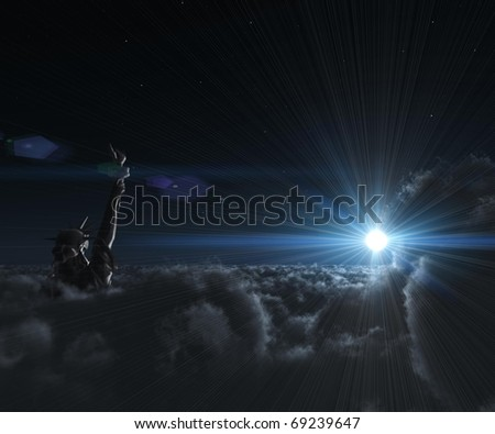 three-dimensional, Statue of Liberty at night in the clouds in a bright flash