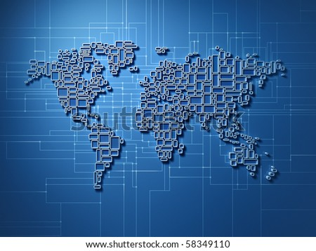 Three dimensional world map made of simple rectangular structures - showing global networking