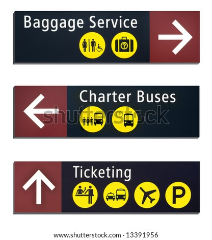 Three Directional airport signs, isolated on white background