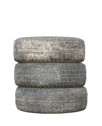 three dirty used tires isolated over white background