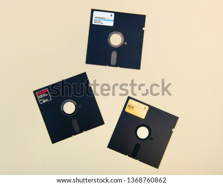three diskettes 5.25 isolated