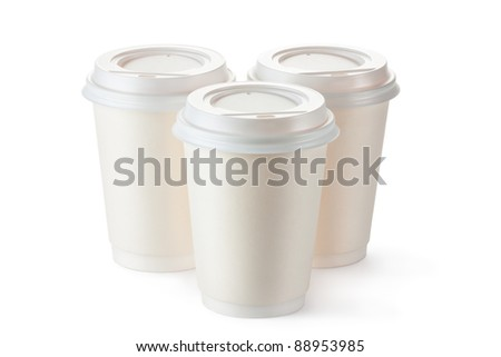 Three disposable coffee cups with plastic lid. Isolated on a white.