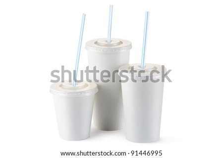 Three disposable cups for beverages with straw. Isolated on a white.