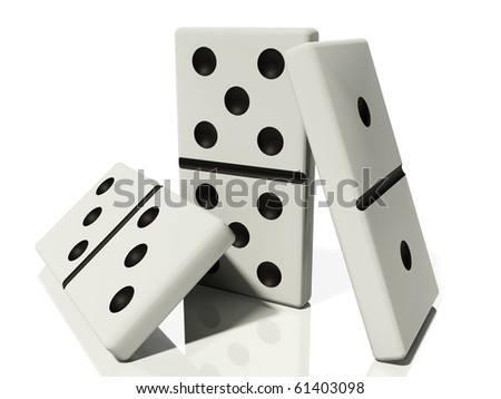 three dominoes in various poses are isolated on a white background with reflections and shadows