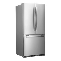 Three Door Refrigerator with Food Isolated on White Background. Side View of Stainless Steel Counter-Depth Side by Side French Door 3-Door Fridge Freezer. Kitchen and Major Domestic Appliances