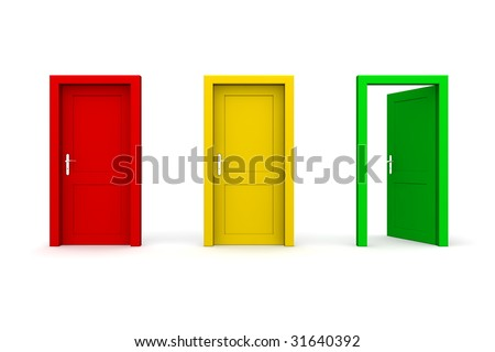 three doors in a a row - red, yellow, green - green door open - stock photo