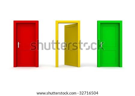three doors in a a row - red, yellow, green - yellow door open