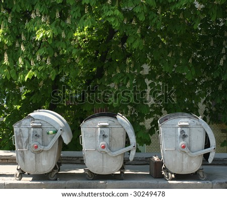 Three dustbin in the street with chestnut trees