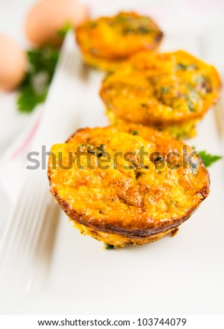 Three Egg and Beef Muffins with Herbs and Vegetables