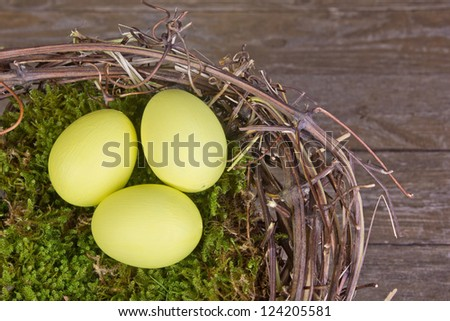 three eggs in a nest/eggs/easter