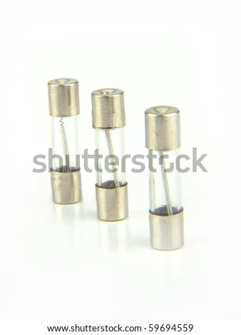 Three Electrical fuse isolated on white with clipping path