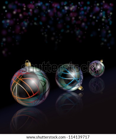 Three elegant glass Christmas baubles reflected on black background with bokeh effect.Also available in vector format.