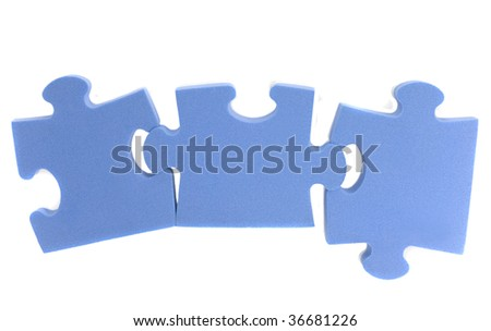 Three elements puzzle of blue colour isolated on white