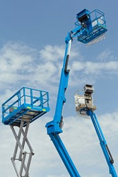 Three Elevated Work Platforms Scissor Lift and Boom