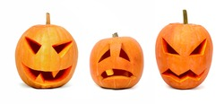 Three emotional halloween pumpkins isolated on white background
