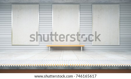 Three empty billboards inside metro or subway station with bench. Mock up, 3D Rendering