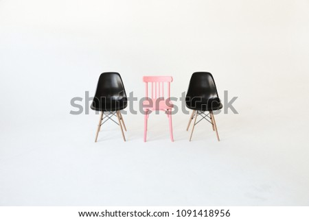 Three empty (blank, vacant, hollow) chairs isolated over white background. Space for text. Vacant chairs. The concept of selection and casting.  #1091418956