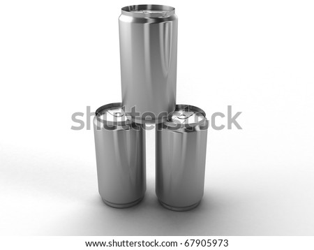 Three empty cans on a white background - stock photo