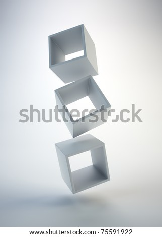 Three empty floating boxes - Abstract composition