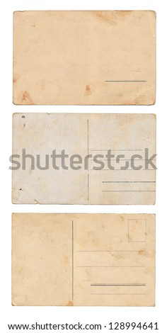 Three empty postcards isolated on white: set 2 - stock photo