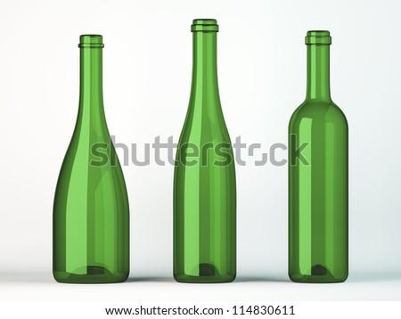 Three empty uncorked bottles for wine on white