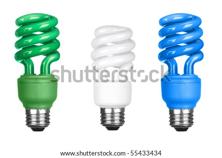 Three energy efficient spiral light bulbs isolated on white.