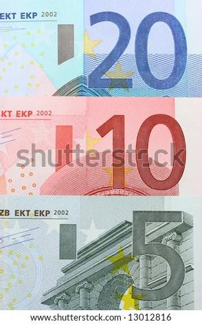 Three euro notes closeup - stock photo