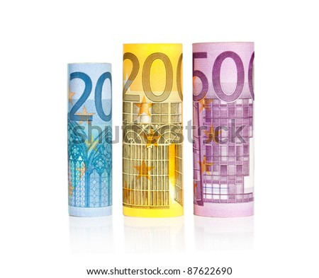 three euro rolls in row with reflection