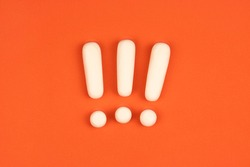 Three exclamation marks on red background. Important information concept, warning. Keep attention sign.