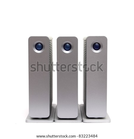three external hard disks on a white background