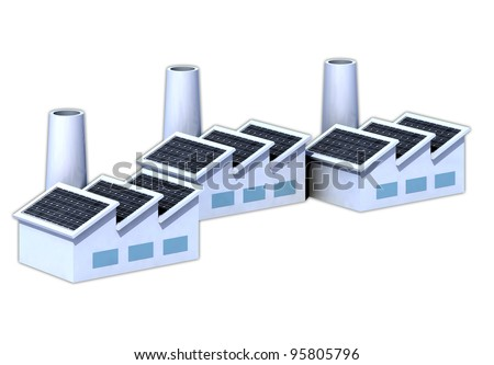 Three factorys with solar panels 3d illustration
