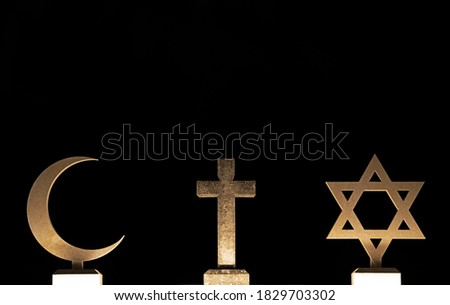 Three Faiths Islam Christianity Judaism Foto stock ©