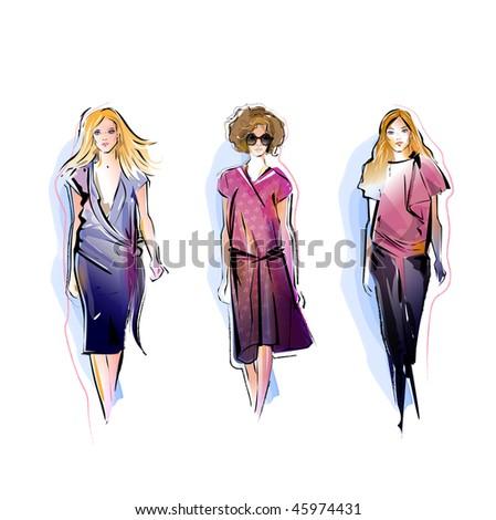 Stock Photo Three Fashion Models