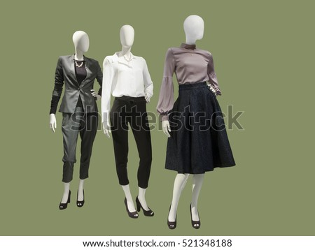 Shutterstock Three female mannequins dressed with fashionable modern clothes, isolated. No brand names or copyright objects.